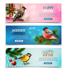 winter birds horizontal banners vector image