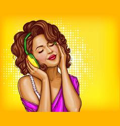 Woman listening music in headphones pop art vector