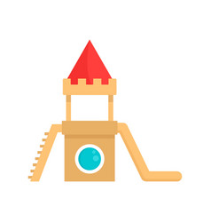 Wood kid castle icon flat style vector