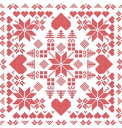 Xmas pattern in square shape in red vector image