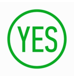 Yes in circle icon simple style vector image