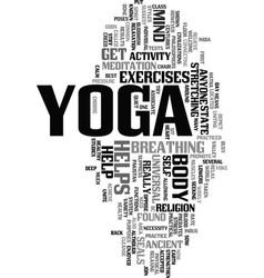 Yoga text word cloud concept vector