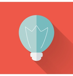 Flat lamp icon over red vector image