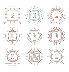 Line hipster monograms vector image