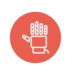 Robot hand thin line icon vector