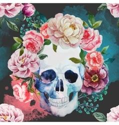 Watercolor skull vector image
