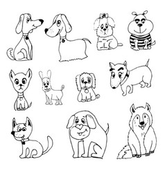 doodle funny dog vector image vector image
