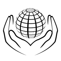 hands holding a globe vector image