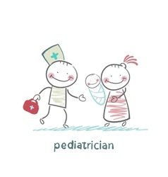 pediatrician stands next to her mother and sick vector image vector image