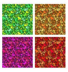 set of seamless patterns wave colorful background vector image