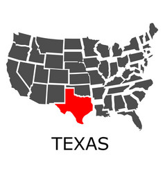 state of texas on map of usa vector image vector image