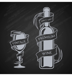 Template bottles and glasses with ribbon vector image