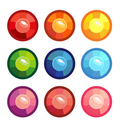a set of colored round gems vector image vector image