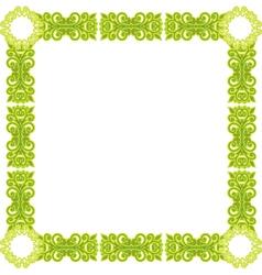 green pattern frame vector image