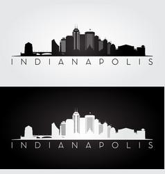 indianapolis usa skyline and landmarks silhouette vector image