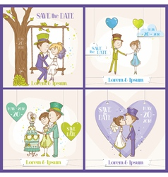 Save the Date Wedding Card Set vector image