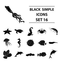 sea animals set icons in black style big vector image vector image