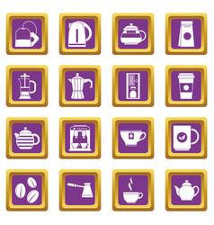 tea and coffee icons set purple vector image