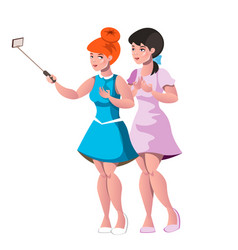 two young girls doing selfie vector image vector image