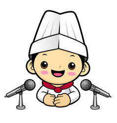 cook character announce news with a microphone vector image