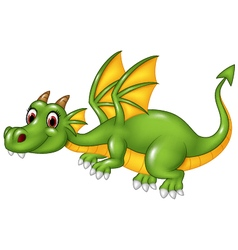 Cute green dragon flying isolated vector image