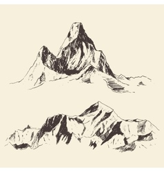 Mountains Contours Engraving Hand Draw vector image