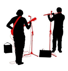 Silhouettes musicians plays the guitar and flute vector image vector image