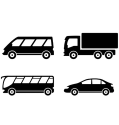 vehicle bus truck and car transport set vector image vector image