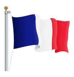 waving france flag isolated on a white background vector image vector image