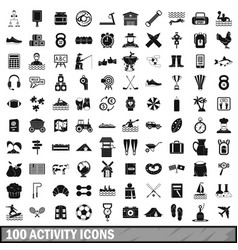 100 activity icons set simple style vector