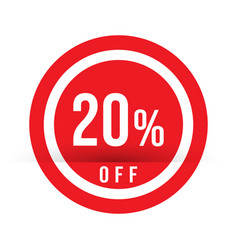 20 percent off - red sale stamp - special offer vector image