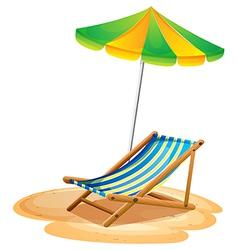 A bench with a summer umbrella vector image