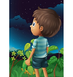 A boy gazing at the sky vector
