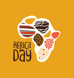 Africa day card with tribal art african map vector