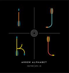 archery arrow letter set i j k l vector image