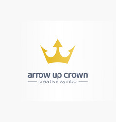 arrow up gold crown creative symbol concept royal vector image