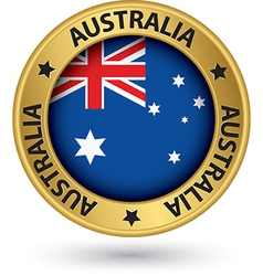 Australia gold label with flag vector