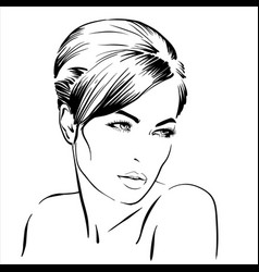 beautiful brunette girl portrait bun hairstyle vector image