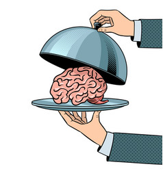 brain on dish with cloche pop art vector image