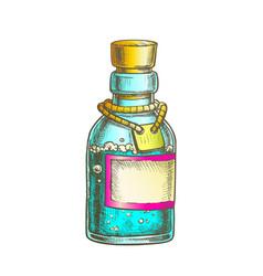 Bubbled potion elixir bottle color vector