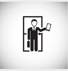Businessman going to job on white backround vector