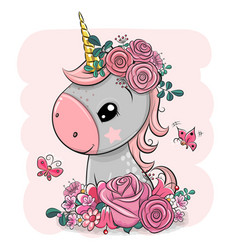 Cartoon unicorn with flowers on a pink background vector
