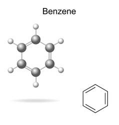 Chemical formula and model of benzene vector image