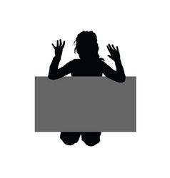 Child with grey board silhouette vector