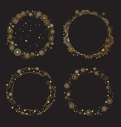 christmas and new year golden snowflakes wreath vector image