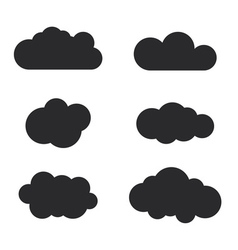 Cloud icons set Black outline isolated vector image