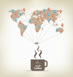 Coffee for global communication concept stock vector
