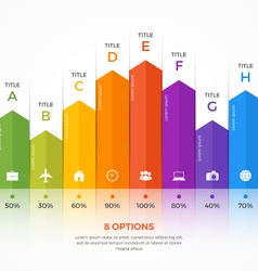 column chart infographic template 8 options vector image