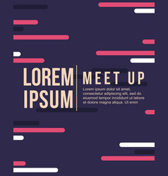 Cool colorful background pattern meet up card vector