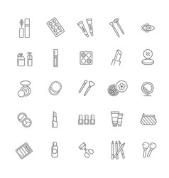 cosmetics line icons line icons vector image